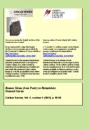 RAMON XIRAU: FROM POETRY TO METAPHYSICS