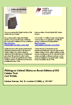 PHILOLOGY AS CULTURAL HISTORY ON RECENT EDITIONS OF OLD CATALAN TEXTS