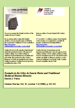 EXEMPLA IN THE LIBRE DE SANCTA MARIA AND TRADITIONAL MEDIEVAL MARIAN MIRACLES