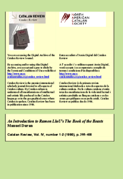 AN INTRODUCTION TO RAMON LLULL'S THE BOOK OF THE BEASTS