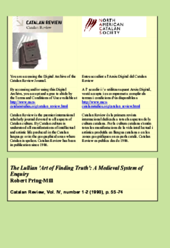THE LULLIAN 'ART OF FINDING TRUTH': A MEDIEVAL SYSTEM OF ENQUIRY