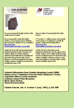 CULTURAL INFORMATION FROM CATALAN SPEAKING LANDS 1990