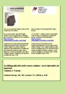 LA BIBLIOGRAFIA DELS ANTICS TEXTOS CATALANS ACCÉS INFORMÀTIC ALS MATERIALS