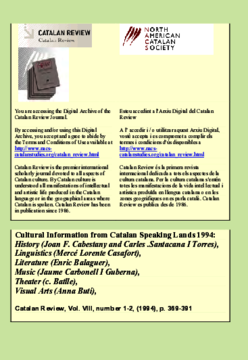CULTURAL INFORMATION FROM CATALAN SPEAKING LANDS 1994