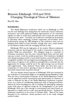 Between Edinburgh 1910 and 2010: Changing Theological Views of Missioni