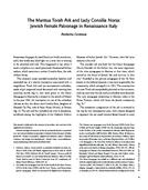 The Mantua Torah Ark and Lady Consilia Norsa: Jewish Female Patronage in Renaissance Italy