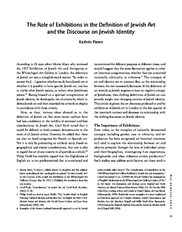 The Role of Exhibitions in the Definition of Jewish Art and the Discourse on Jewish Identity