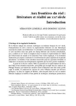 Aux frontières du réel : littérature et réalité au xxie siècle