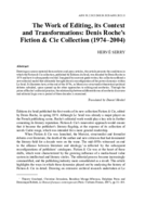 The Work of Editing, its Context and Transformations: Denis Roche's Fiction & Cie Collection (1974-2004)