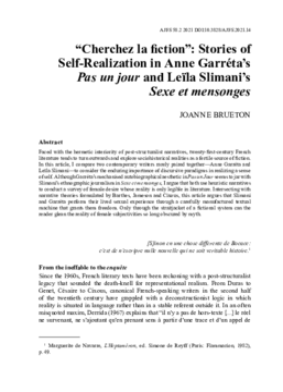 """""""Cherchez la fiction"""": Stories of Self-Realization in Anne Garréta's Pas un jour and Leïla Slimani's Sexe et mensonges"""