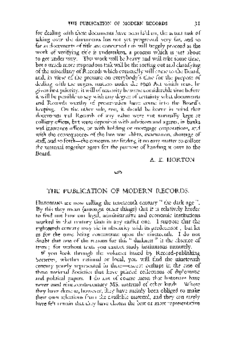 THE PUBLICATION OF MODERN RECORDS