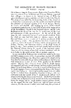 THE MIGRATION OF PROBATE RECORDS IN WALES, 1945-49