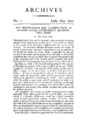 THE PRESERVATION AND CLASSIFICATION OF MODERN LOCAL GOVERNMENT ARCHIVES: TWO VIEWS