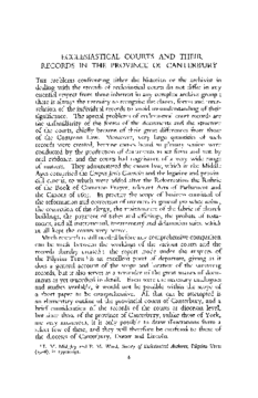 ECCLESIASTICAL COURTS AND THEIR RECORDS IN THE PROVINCE OF CANTERBURY