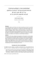 Intertextualidad e intermedialidad poético-musical: formas de pervivencia de san Juan de la Cruz en la canción popular actual