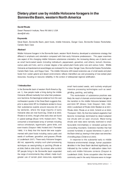 Dietary plant use by middle Holocene foragers in the Bonneville Basin, western North America