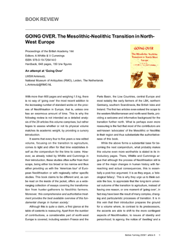 GOING OVER. The Mesolithic-Neolithic Transition in North-West Europe