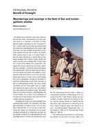 Meanderings and musings in the field of San and hunter-gatherer studies