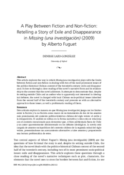 A Play Between Fiction and Non-fiction: Retelling a Story of Exile and Disappearance in Missing (una investigación) (2009) by Alberto Fuguet