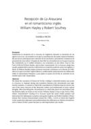 Recepción de La Araucana en el romanticismo inglés: William Hayley y Robert Southey