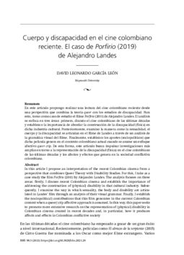 Cuerpo y discapacidad en el cine colombiano reciente. El caso de Porfirio (2019) de Alejandro Landes