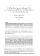 Who Translated Lorca into English First? An Analysis of the 1929 New York Translations and their Possible Authorship