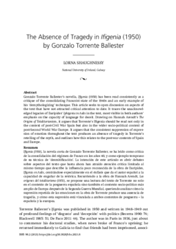 The Absence of Tragedy in Ifigenia (1950) by Gonzalo Torrente Ballester