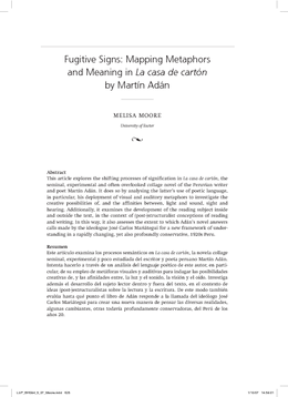 Fugitive Signs: Mapping Metaphors and Meaning in La casa de cartón by Martín Adán