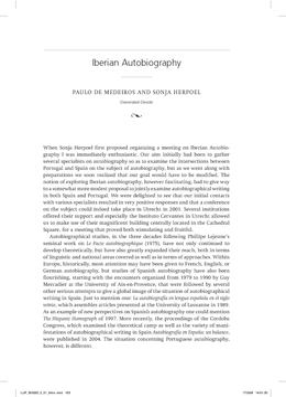 Iberian Autobiography