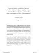 Diário em poesia, (im)provável escrita. José Gomes Ferreira, 'Diário dos Dias Cruéis', Ana Luísa Amaral, Imagens, e Teresa Rita Lopes, 'Passagens do Diário que não escrevo'