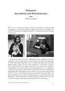 Obituaries Anne Barton and Nina Diakonova
