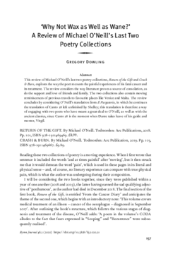 'Why Not Wax as Well as Wane?' A Review of Michael O'Neill's Last Two Poetry Collections