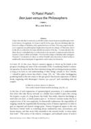 'O Plato! Plato!': Don Juan versus the Philosophers
