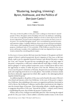 'Blustering, bungling, trimming': Byron, Hobhouse, and the Politics of Don Juan Canto I