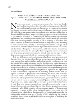 URBAN REGENERATION RATIONALTIES AND QUALITY OF LIFE: COMPARATIVE NOTES FROM TORONTO, MONTREAL AND VANCOUVER