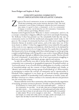 CONCEPTUALISING COMMUNITY: POLICY IMPLICATIONS FOR ATLANTIC CANADA