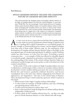 ANGLO-CANADIAN DEFENCE TIES AND THE CHANGING NATURE OF CANADIAN MILITARY IDENTITY