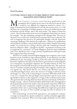 CULTURAL POLICY AND CULTURAL PRODUCTION: MACLEAN'S MAGAZINE AND FOREIGN NEWS