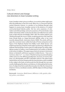 Cultural criticism and change: new directions in Asian Canadian writing