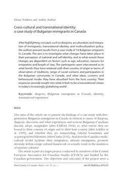 Cross-cultural and transnational identity: a case study of Bulgarian immigrants in Canada