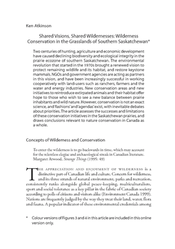 Shared Visions, Shared Wildernesses: Wilderness Conservation in the Grasslands of Southern Saskatchewan