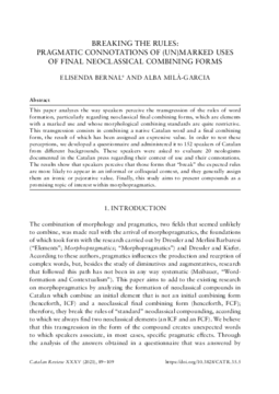 BREAKING THE RULES: PRAGMATIC CONNOTATIONS OF (UN)MARKED USES OF FINAL NEOCLASSICAL COMBINING FORMS