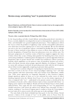 """Review essay: unmasking """"race"""" in postcolonial France"""