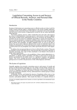 Legislation Concerning Access to and Secrecy of Official Records, Archives, and Personal Data in the Nordic Countries