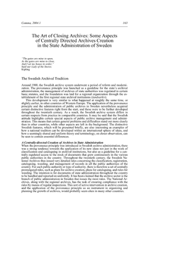 The Art of Closing Archives: Some Aspects of Centrally Directed Archives Creation in the State Administration of Sweden