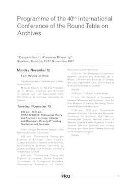 Programme of the 40th International Conference of the Round Table on Archives