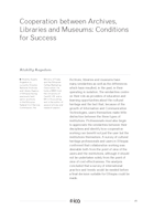 Cooperation between Archives, Libraries and Museums: Conditions for Success