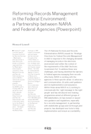 Reforming Records Management in the Federal Environment: a Partnership between NARA and Federal Agencies (Powerpoint)