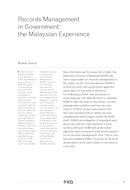 Records Management in Government: the Malaysian Experience