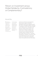 Return on Investment versus Global Solidarity: Contradictory or Complementary?